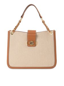 Ermanno by Ermanno Scervino - Canvas and faux leather tote bag in beige