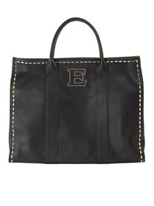 Ermanno by Ermanno Scervino - Faux hammered leather tote bag in black