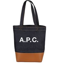 A.P.C. - Axel small denim and leather shopping bag