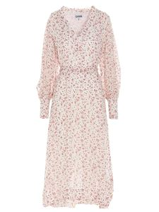 Ganni - Floral midi dress in white and red