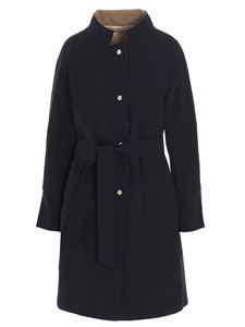 Herno - Reversible trench coat in blue and beige