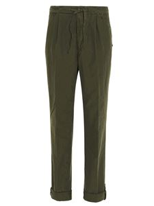 Incotex - Drawstring trousers in army green