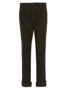 Incotex - Leafs print trousers in army green