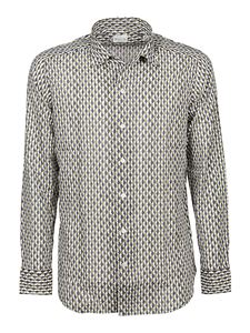Bagutta - Printed cotton shirt in blue and gray