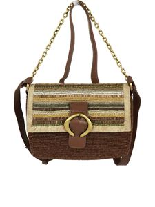 Malìparmi - Beads embroidered bag in brown