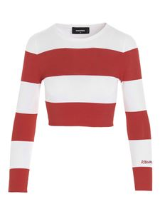 Dsquared2 - Striped crop top in white and red