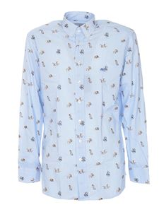 Etro - Animal and stripes shirt in light blue
