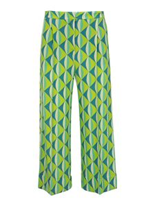 Malìparmi - Viscose jersey pants in green and light blue