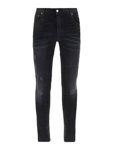 Les Hommes - Faded denim jeans in black