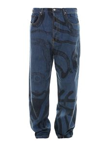 Kenzo - Jeans carrot fit con stampa K-tiger blu