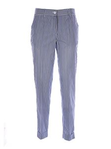 Parosh - Striped trousers in blue and white