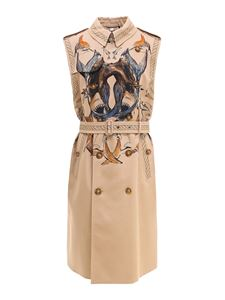 Burberry - Trench con stampa marina beige