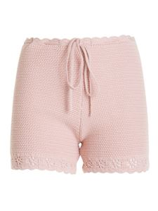 Red Valentino - Shorts in maglia rosa con coulisse