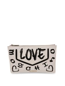 Love Moschino - Printed faux leather clutch in white