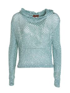 Missoni - Sequined hooded sweater in light blue