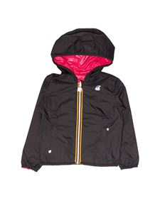 K-Way - Lily Plus Double short jacket in black and fuchsia
