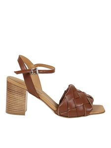 Anna F. - Woven leather sandals in Cuoio color