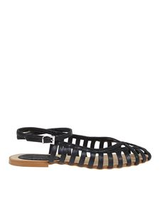 Anna F. - Leather flat sandals in black