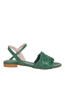 Anna F. - Woven leather flat sandals in green