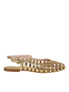 Anna F. - Leather flat sandals in gold color