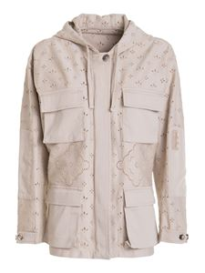 Ermanno Scervino - Broderie anglaise parka in beige