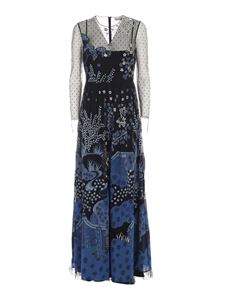 Red Valentino - Embroidered plumetis tulle dress in blue