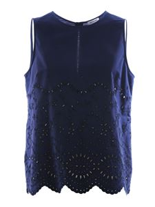 Parosh - Broderie anglaise top in blue