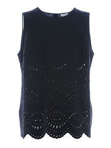 Parosh - Broderie anglaise top in black