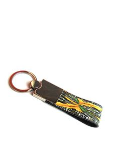 Maria Enrica Nardi - Macula Gialla leather and steel key holder in yellow