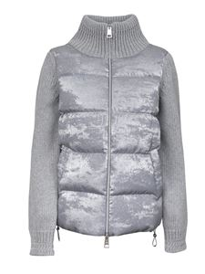 Herno - Knitted sleeves down jacket in Stucco color
