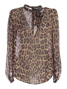 Dsquared2 - Animal print blouse with bow