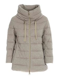 Herno - Lamé detail down jacket in dove grey