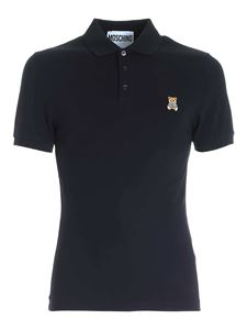 Moschino - Logo embroidery polo shirt in black