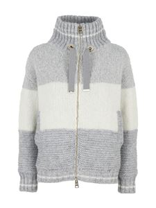 Herno - Striped knitted jacket in grey