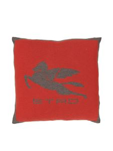 Etro - Pegaso cushion in red and grey