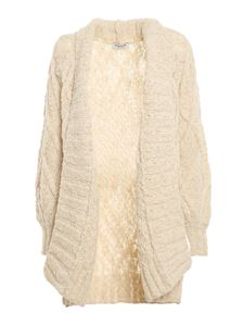 Dondup - Cable-knit cardigan in cream color