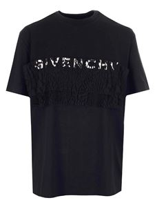 Givenchy - Logo and lace T-shirt in black