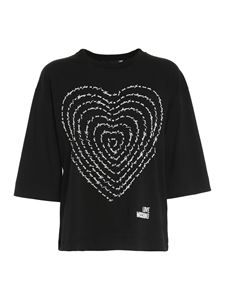 Love Moschino - Poetry lettering heart T-shirt in black