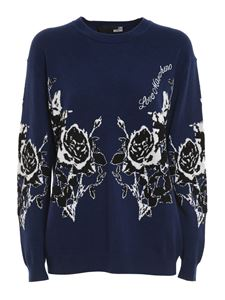 Love Moschino - Rose embroidered viscose blend sweater in blue