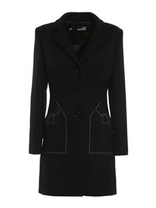 Love Moschino - Heart embroidered wool coat in black
