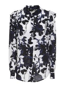 Love Moschino - Oversized viscose shirt with floral print in black and white