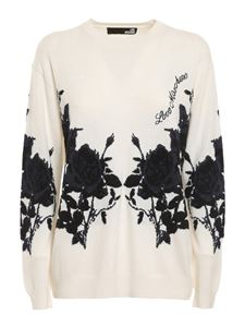 Love Moschino - Rose embroidered viscose blend sweater in white