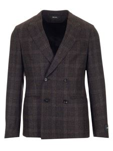 Z Zegna - Double-breasted checked jacket in brown