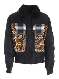 Versace Jeans Couture - Tartan Baroque print puffer jacket in black