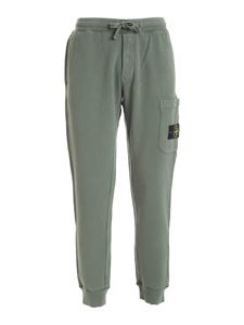 Stone Island - Logo patch pants in green