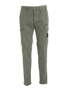 Stone Island - Logo patch cargo pants in green