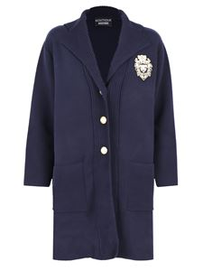 Moschino Boutique - Logo patch coat in blue