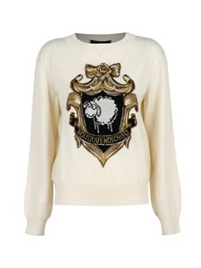Moschino Boutique - Contrasting motif sweater in white