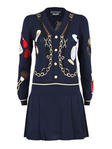 Moschino Boutique - Contrasting pattern dress in blue