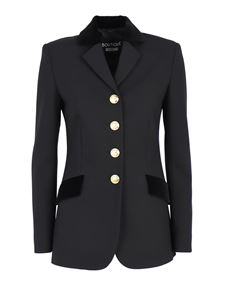 Moschino Boutique - Jacket with velvet details in black